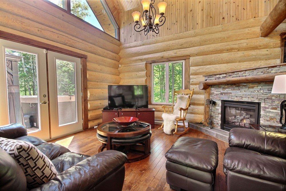 Chalet en bois rond L'Aigle-Noir - Salon avec foyer