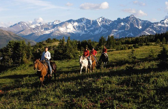 Horse riding in Cariboos Mountains