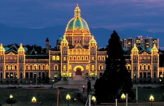 Parlement de Victoria en soirée
