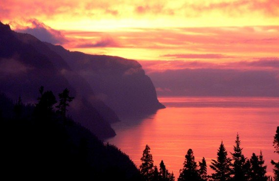 Sunset over Saguenay Fjord