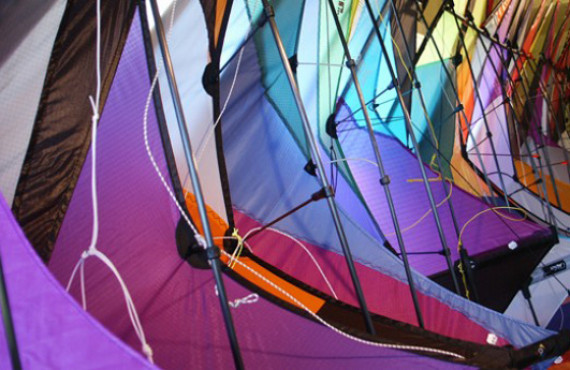Multicolored acrobatic kites