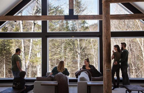 Salon et vue sur la forêt