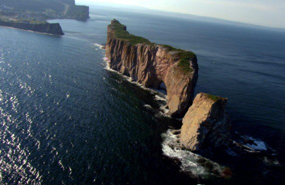 Aerial view of Rocher Percé