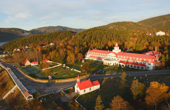 Tadoussac hotel aerial view