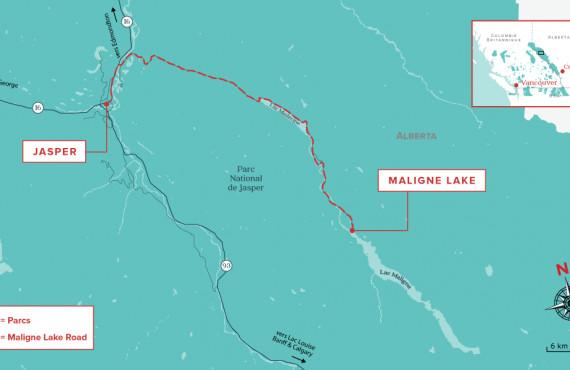 Maligne Lake Road map