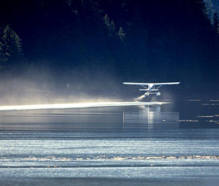 Seaplane flight over the Mauricie wilderness