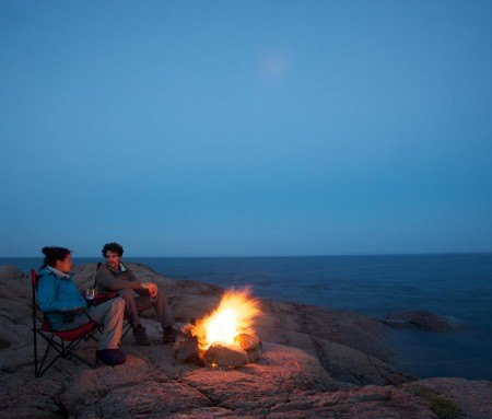 Campfire on the banks of the St. Lawrence