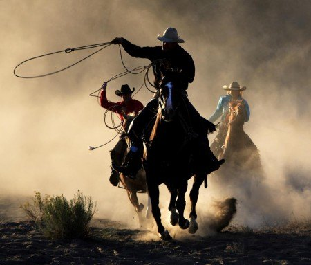 Playing cowboy at a ranch