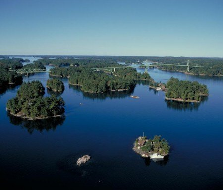 Aerial view of Thousand Islands, Ontario
