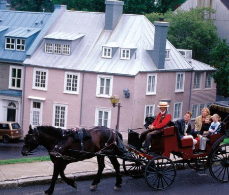 Horse-drawn carriage ride in Old Quebec