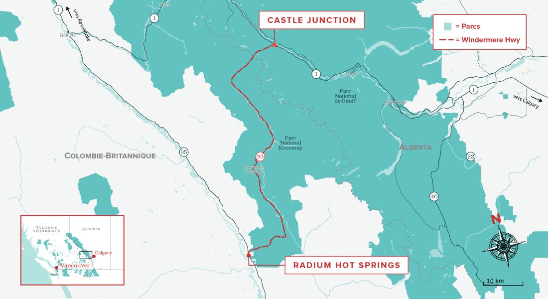 Banff-Windermere Highway map