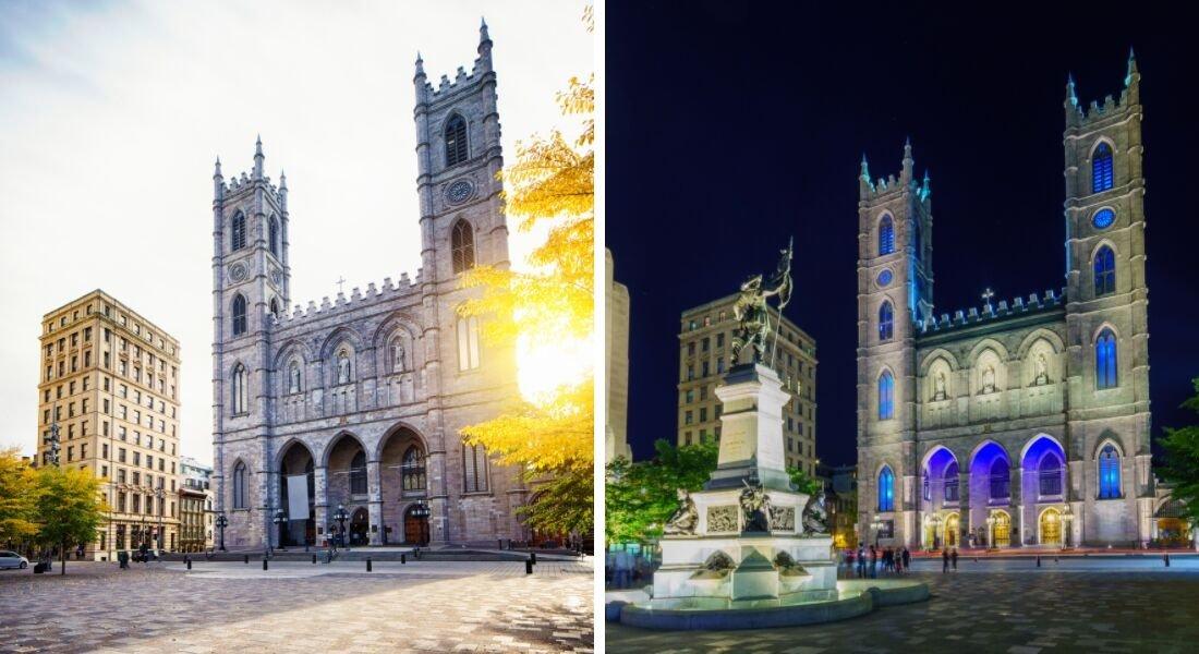 Façade de la Basilique Notre-Dame dans le Vieux-Montréal