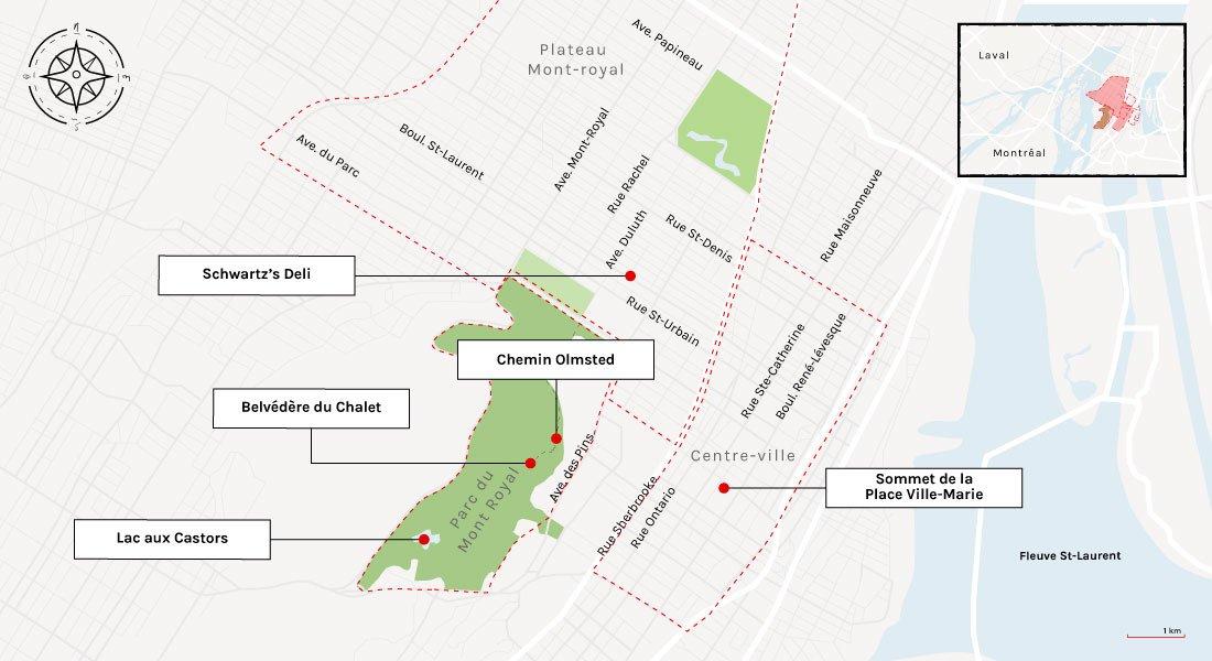 montreal tourism map