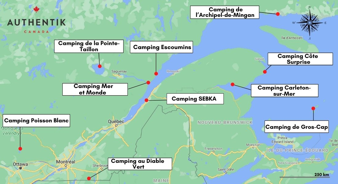 carte des campings du Québec