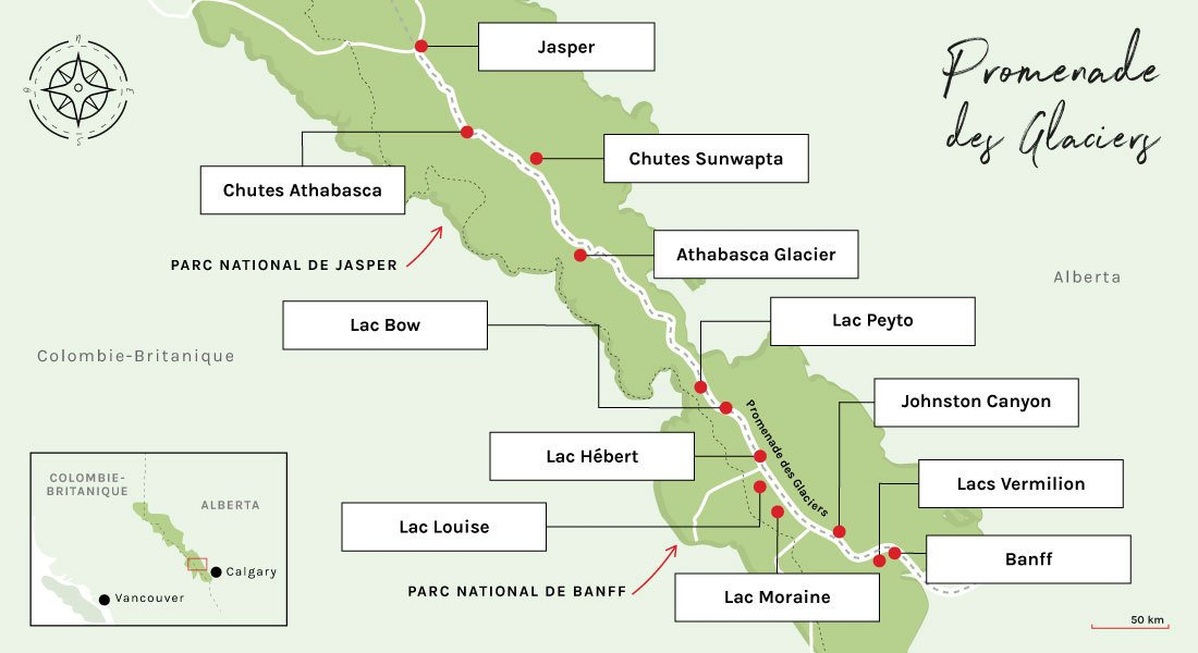 Carte de la promenade des glaciers