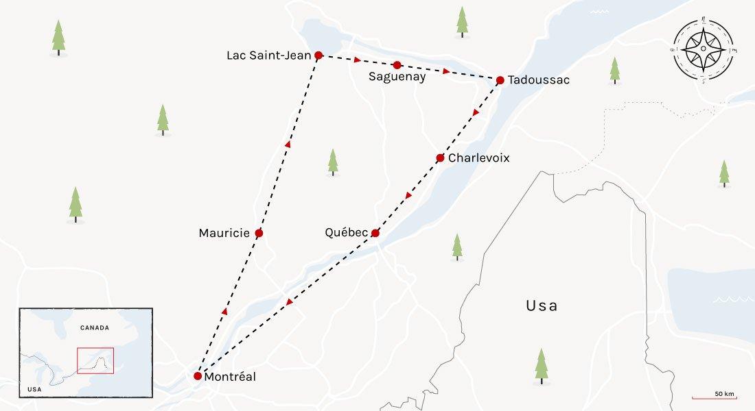 Carte de l'itinéraire du road trip au Québec