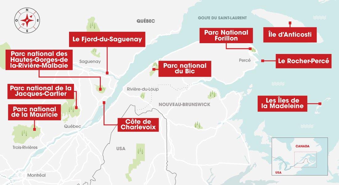 carte localisant les 10 plus beaux paysages du Québec