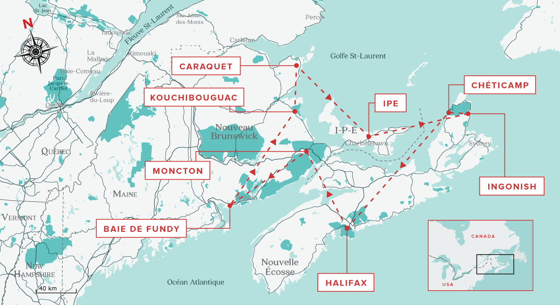 Carte de l'ultime road trip dans les Maritimes