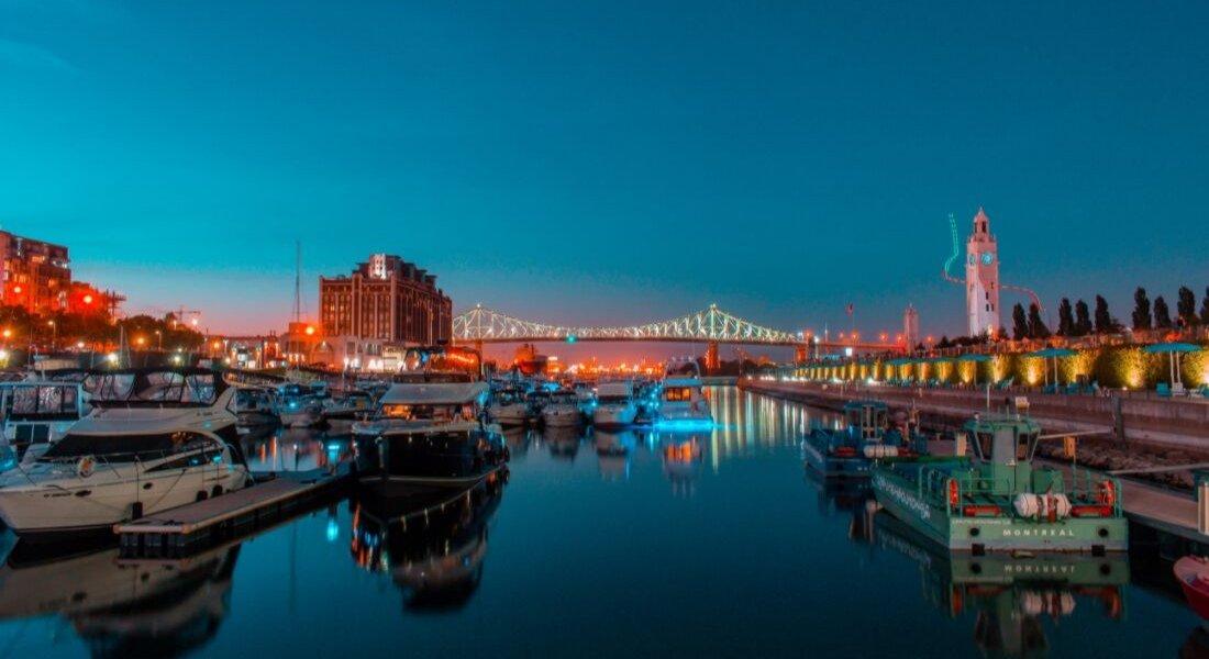 Vue sur le pont Jacques-Cartier depuis le Vieux-Port