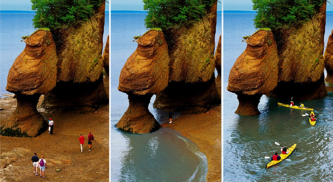 Low tide and high tide at Hopewell Rocks