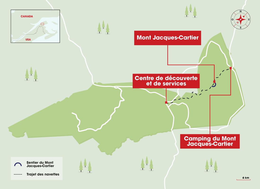 Carte de la randonnée du mont Jacques-Cartier