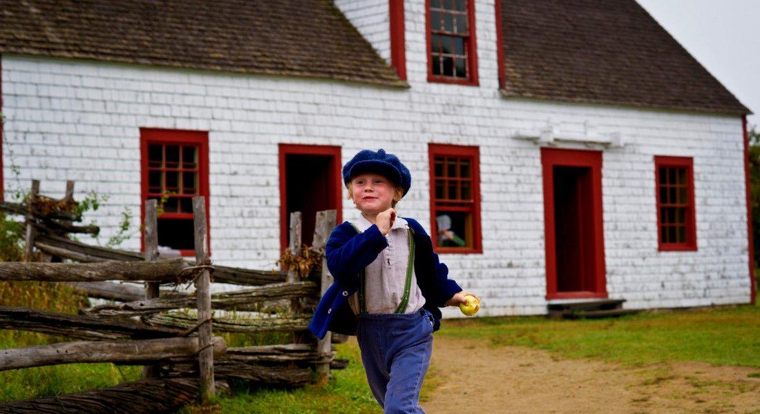 Small boy at Acadian village, New Brunswick