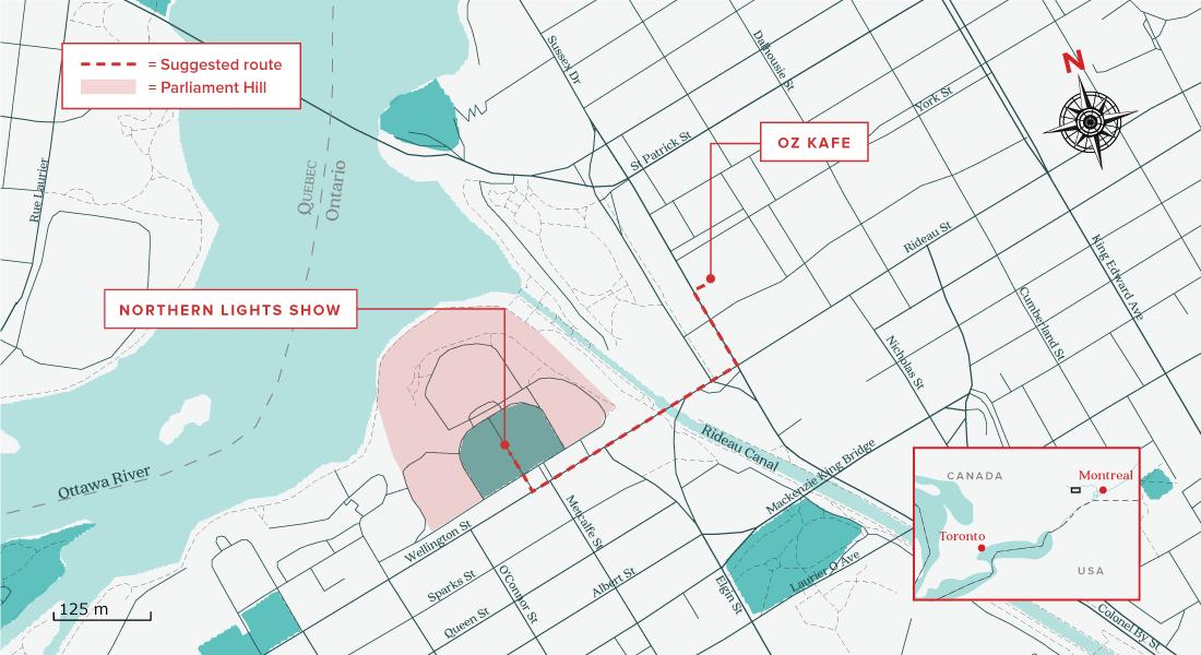 Ottawa one day itinerary map