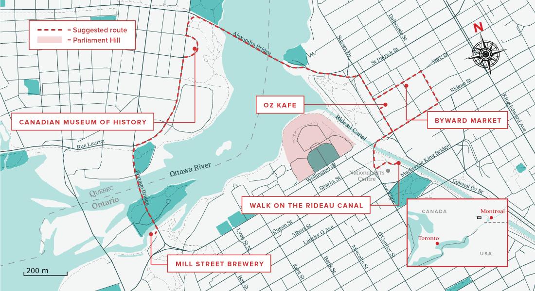 Ottawa walking tour map