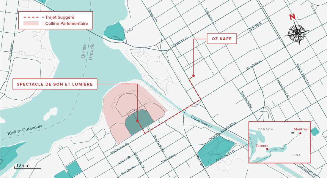 Carte de quoi visiter à Ottawa en 1 journée