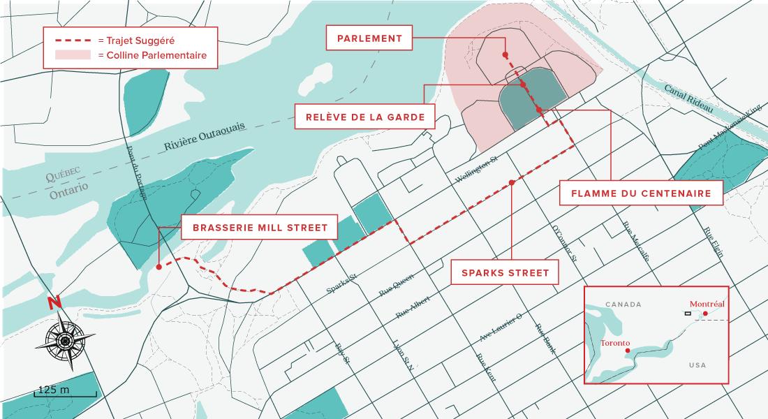 Carte de quoi visiter à Ottawa en 24 heures