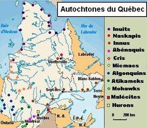 Tribu Indienne Carte.Les Amerindiens Du Canada Et Du Quebec Carte Et Tribu