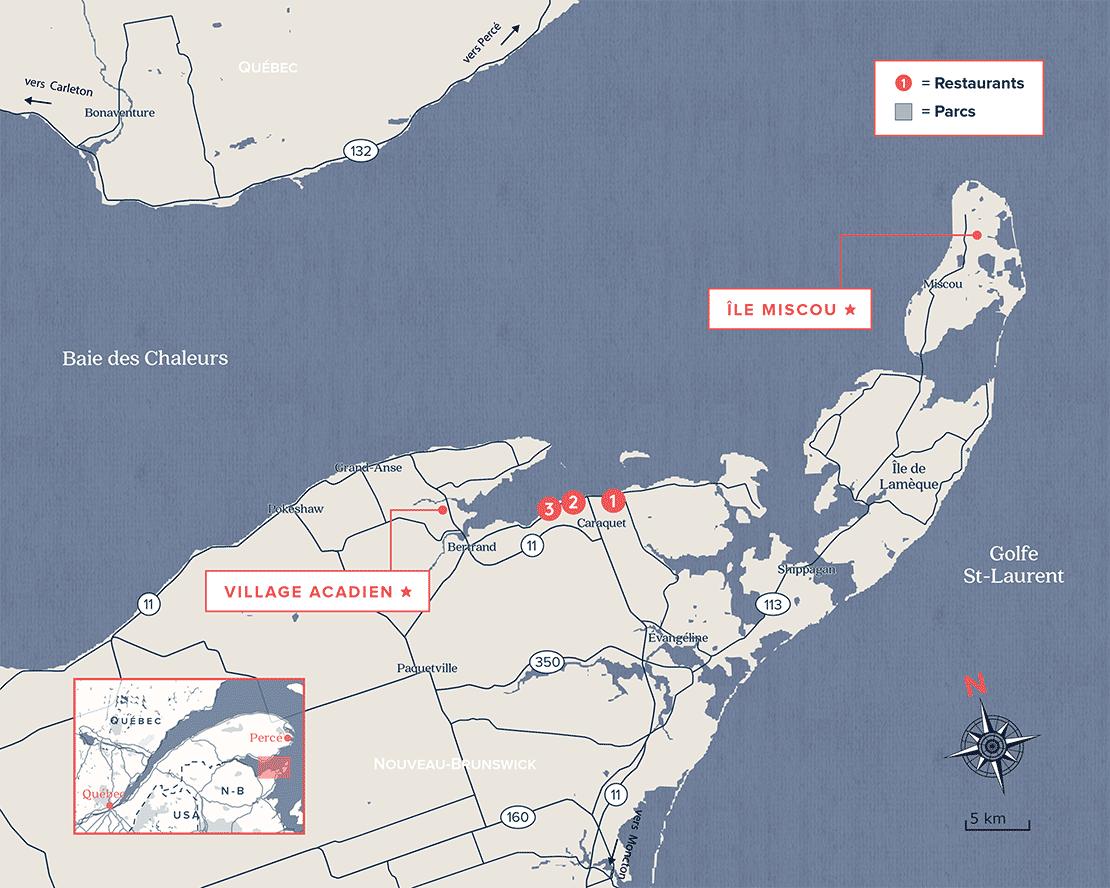 Carte de l'Acadie, Nouveau-Brunswick