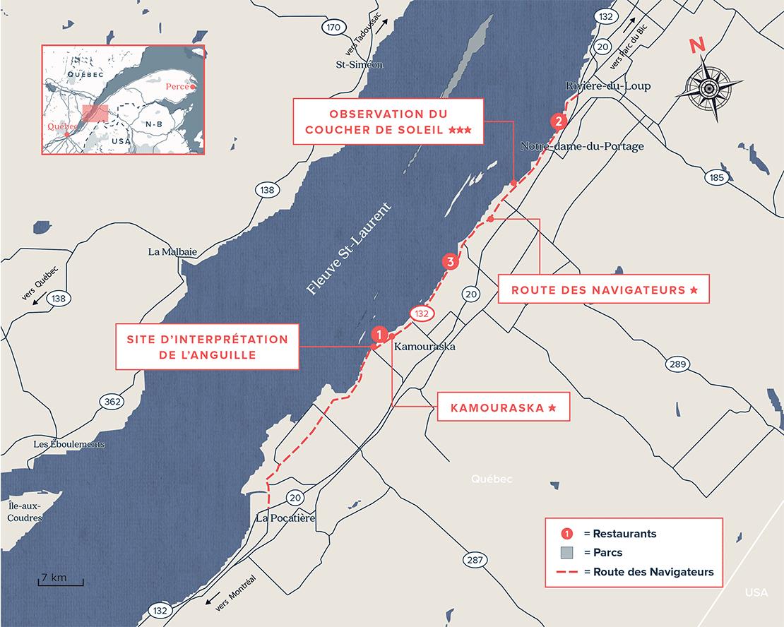 Carte routière du Bas-St-Laurent