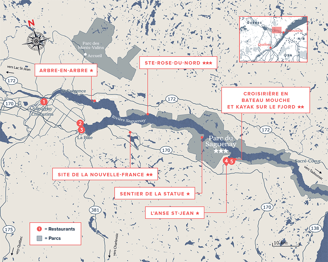 Carte du parc national du Saguenay