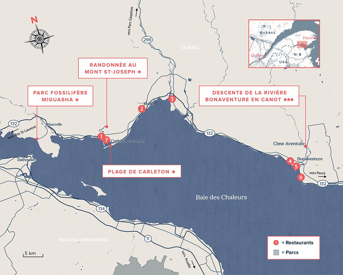 Carte Routière Baie-des-Chaleurs