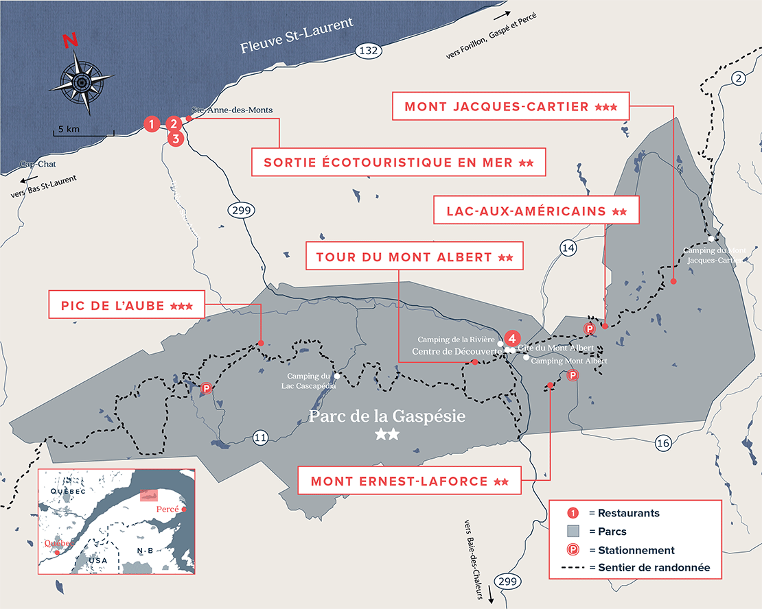 Carte de parc de la Gaspésie