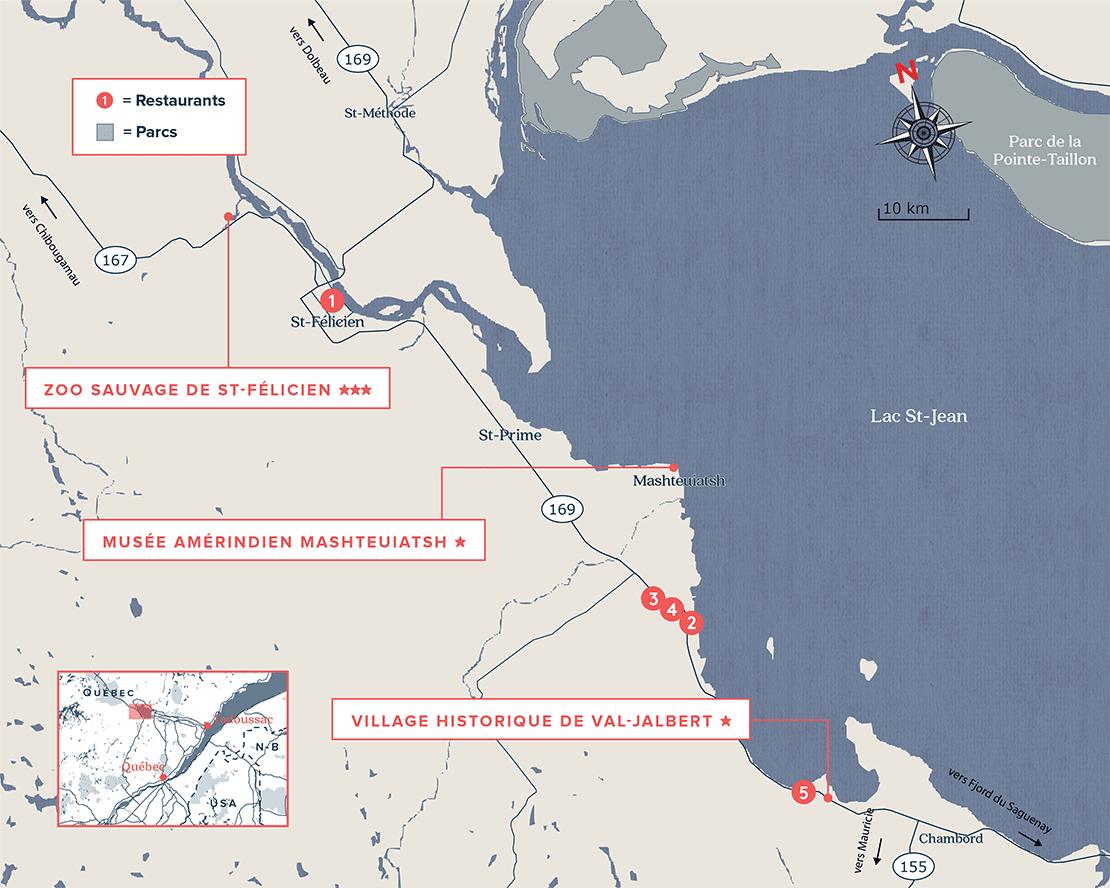 Carte du Lac St-Jean, Québec