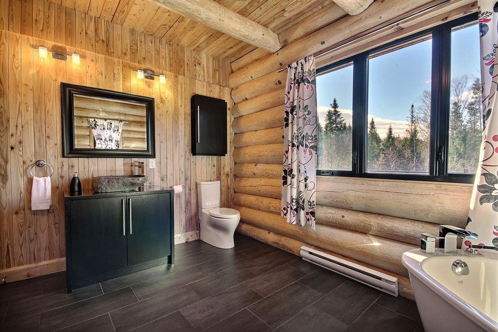 Chalet en bois rond Le Chasse-Galerie - Salle de bain-3