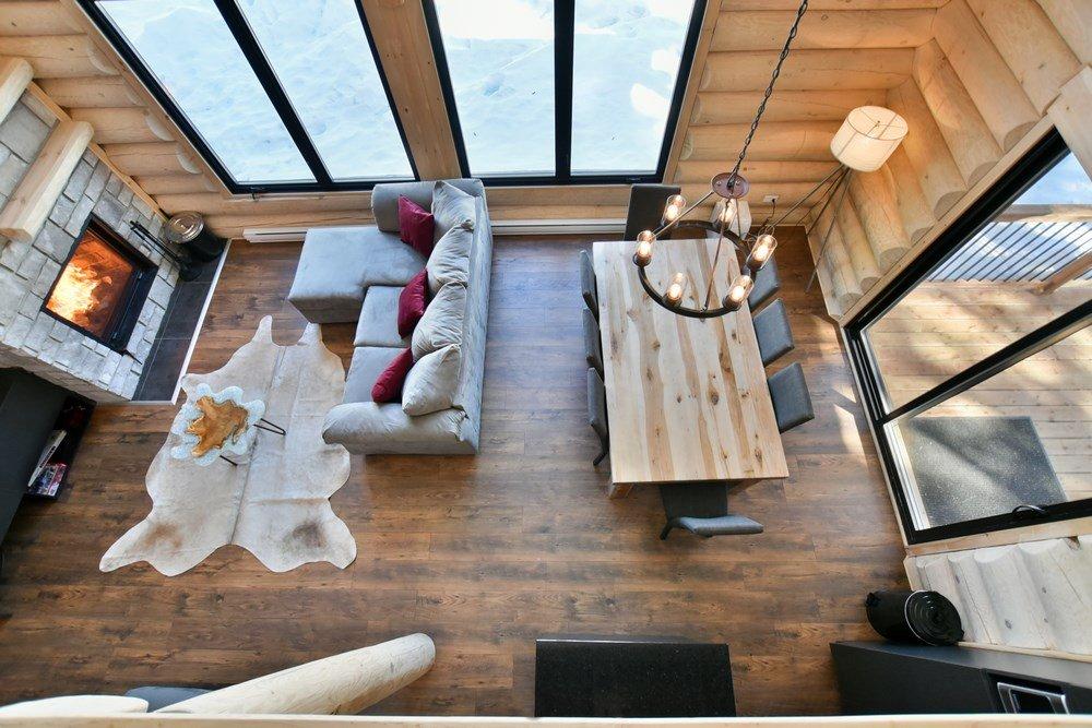 Chalet en bois rond Le Panache - Vue sur Mezzanine