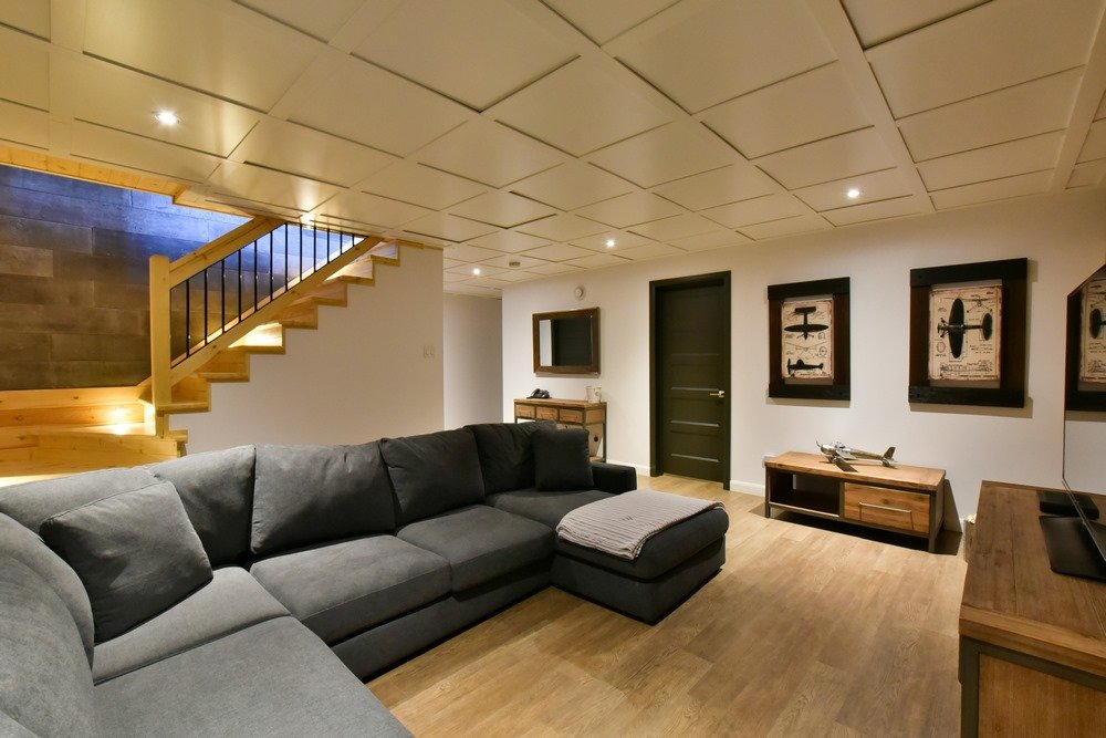 Chalet en bois rond Le Perséides - Salle de séjour su sous-sol