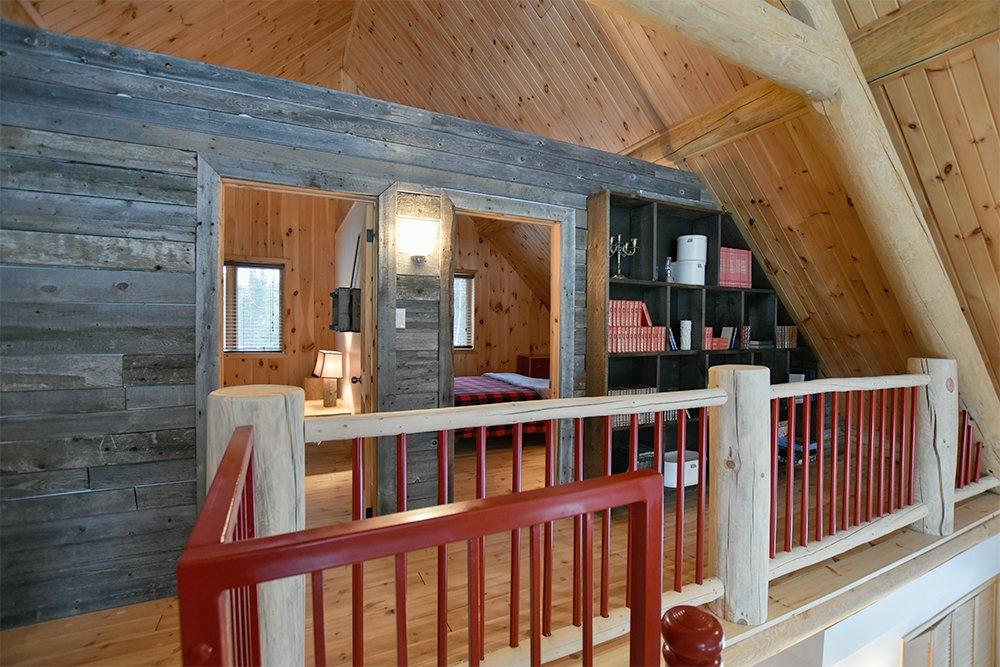 Chalet en bois rond Le Pinecone -  Vue sur la Mezzanine