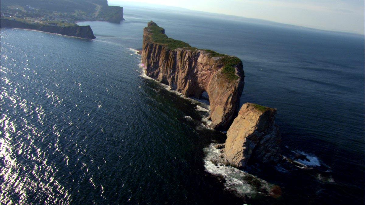 Vue aériene du rocher Percé