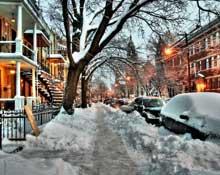Les rues de Montréal après une tempête de neige