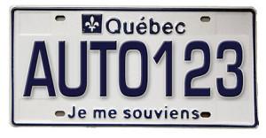 Plaque d'immatriculation du Québec