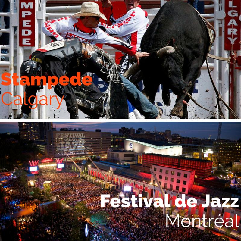 Voyage au Canada : à l'Ouest, des évenements sportifs; à l'Est, des festivals de musique.