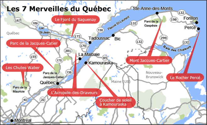 Carte des 7 merveilles du Québec