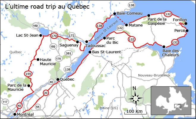 Carte de l'ultime road trip au Québec