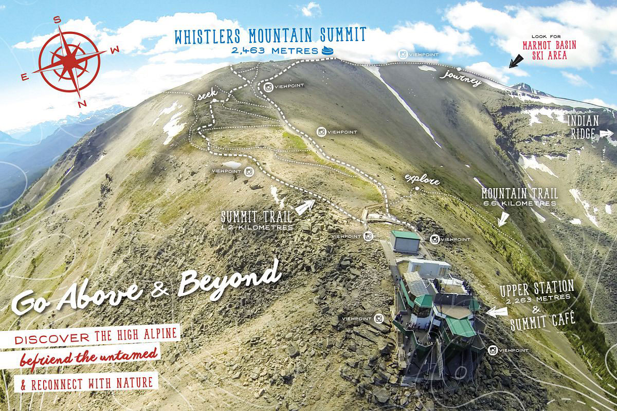Carte des sentiers du Whistler Mountains Summit